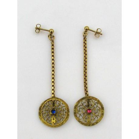 Pendants d'oreilles métal doré, coqs de montre anciens reconditionnés